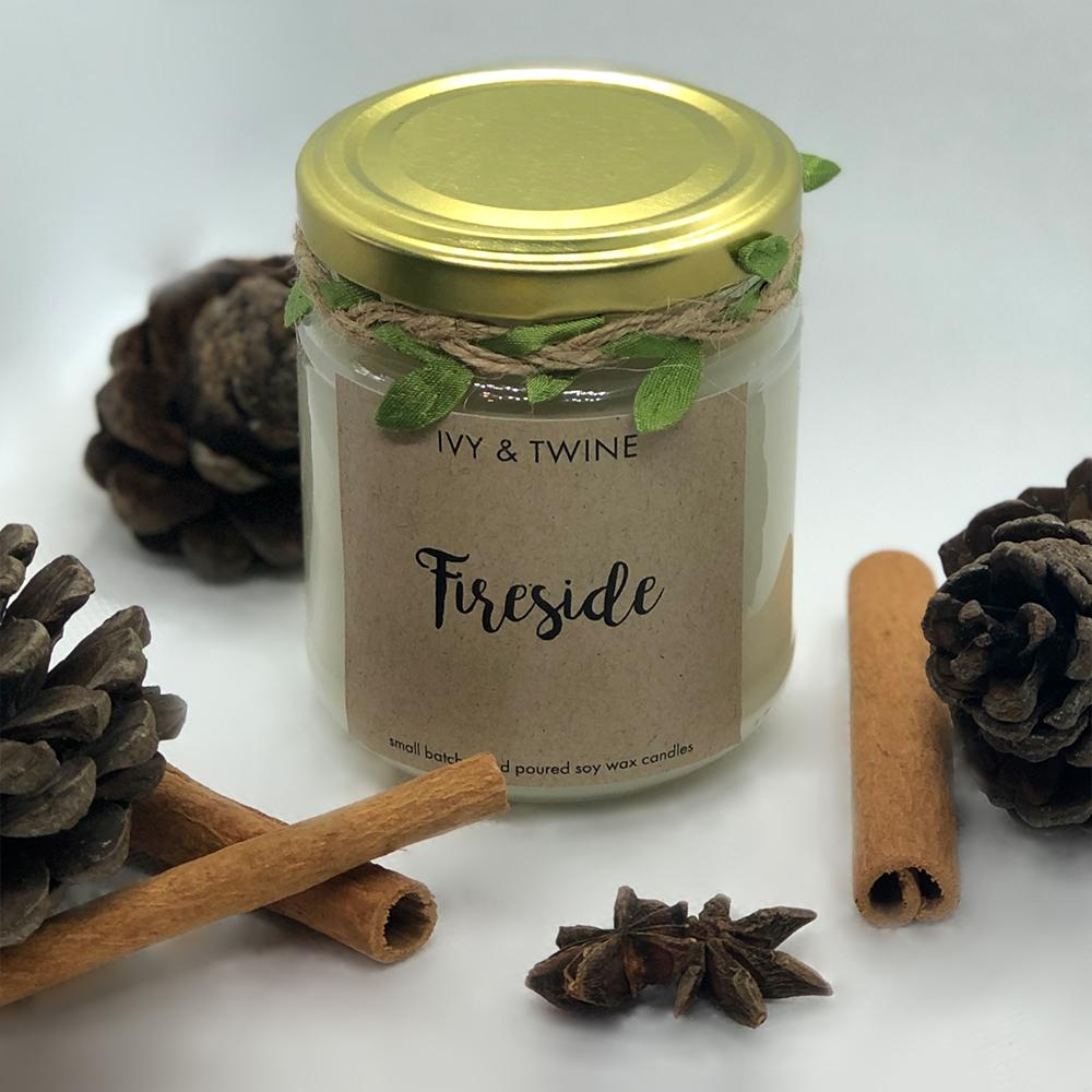 ivy and twine fireside candle 190g soy wax scottish