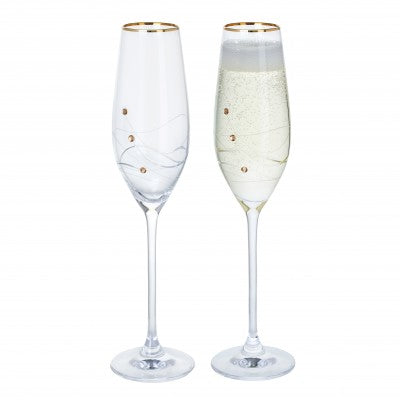 Glitz Gold Champagne Flute - Pair by Dartington