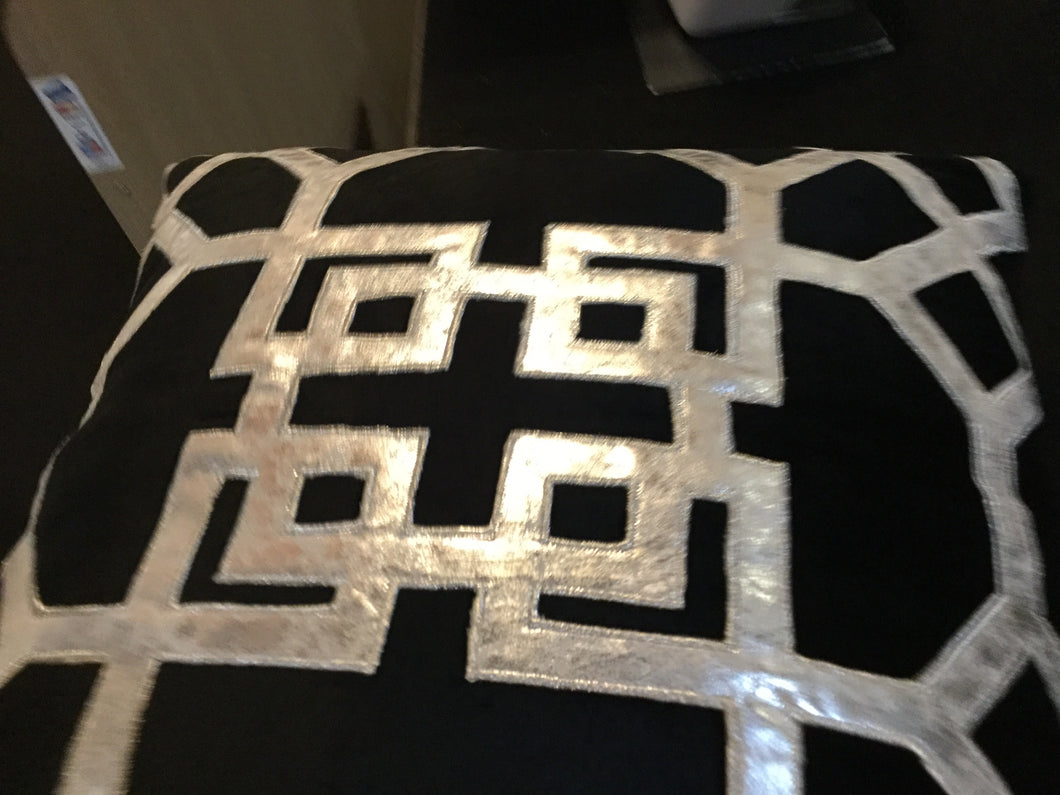 Geometric Black & Silver Cushion 50x50cm by CIMC