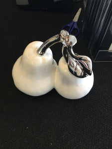 Medium Pair of Pears White and Silver by CIMC
