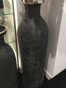 Large Charcoal Vase with Silver Top