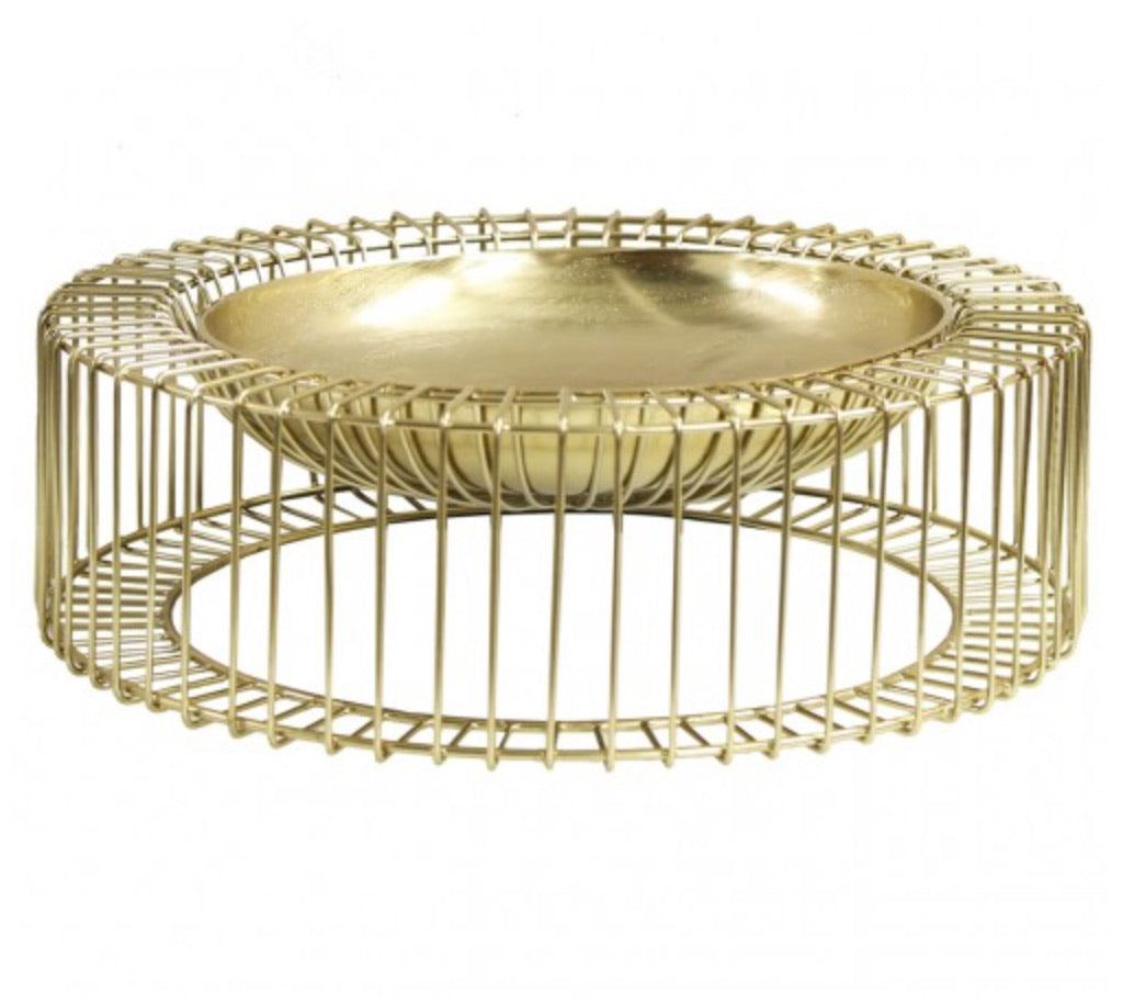 Gold Metal Decorative Bowl/Centrepiece 56cm