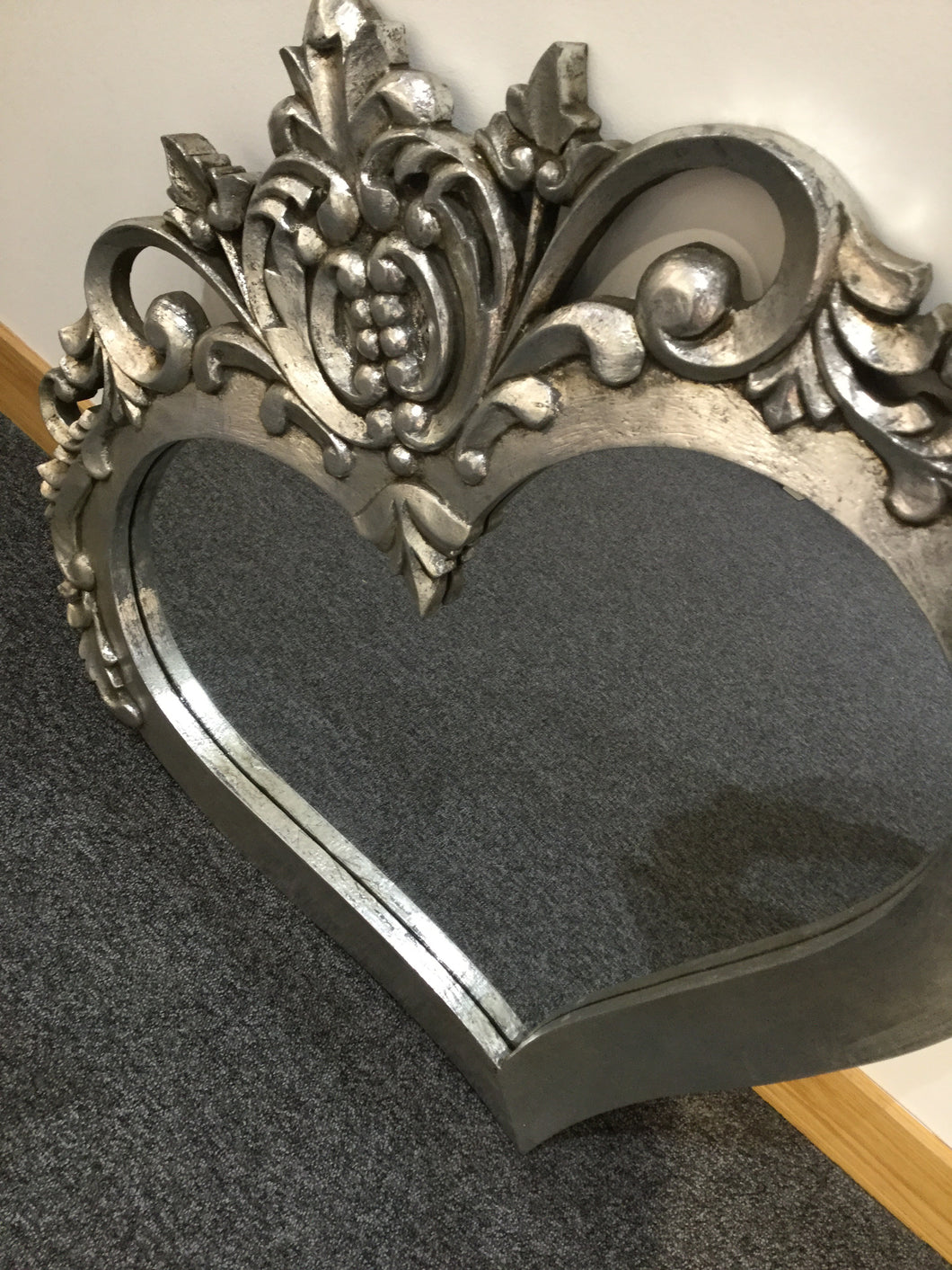 Carved Silver Heart Mirror by Wilde Java