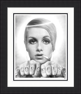 Drop Dead - Twiggy Black and White by JJ Adams