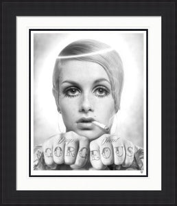 Drop Dead - Twiggy Black and White by JJ Adams framed
