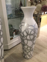 Medium White Vase with Silver Circles by Wilde Java