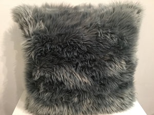 Faux Fur Dark Grey 55cm x 55cm Cushion