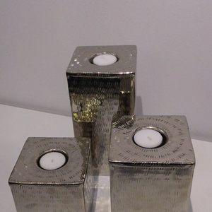 Set of 3 Silver Square Embossed Tealight Holder
