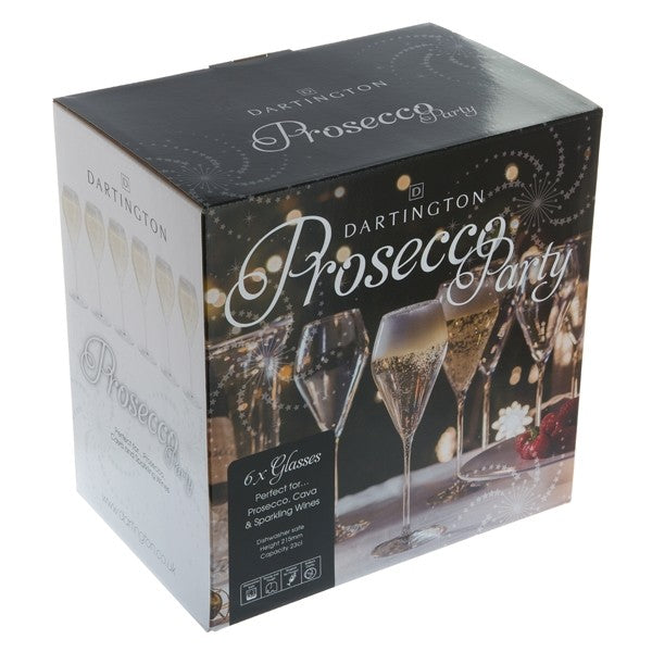 Prosecco Party set of 6 stemmed glasses by Dartington
