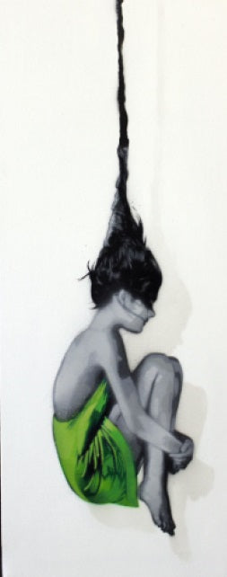 Hand Sprayed Edition of 6 Falling Out of Consciousness (Green) by Snik