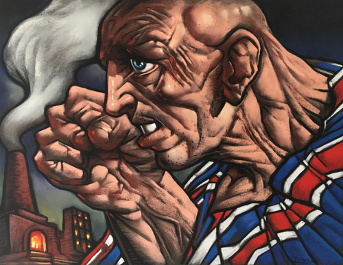 Original Union Bear pastel by Peter Howson