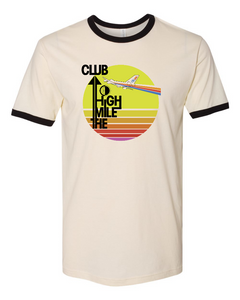 "Retro ""Mile High Club"" Unisex Ringer Tee - Natural"