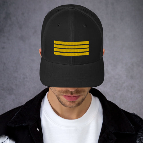 4 Stripes Embroidered Pilot Hat - 3 COLORS