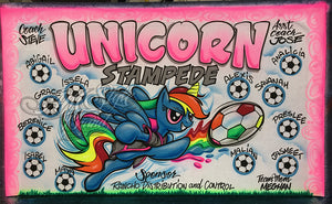 Airbrush Soccer Banner Unicorn Stampede