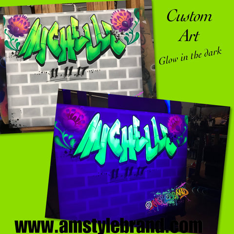 Glow in the dark sign in airbrush canvas
