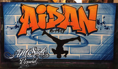 Graffiti Airbrush Banner with brick wall