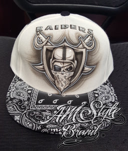 Raiders Airbrush snap back hat, Paisley brim design, Las Vegas Raiders, Oakland Raiders