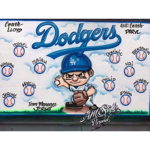 Dodgers Baseball Airbrush Team Banner