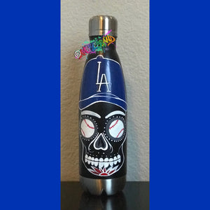 LA Los Angeles Dodgers Sugar Skull Original Painting Water Bottle Art