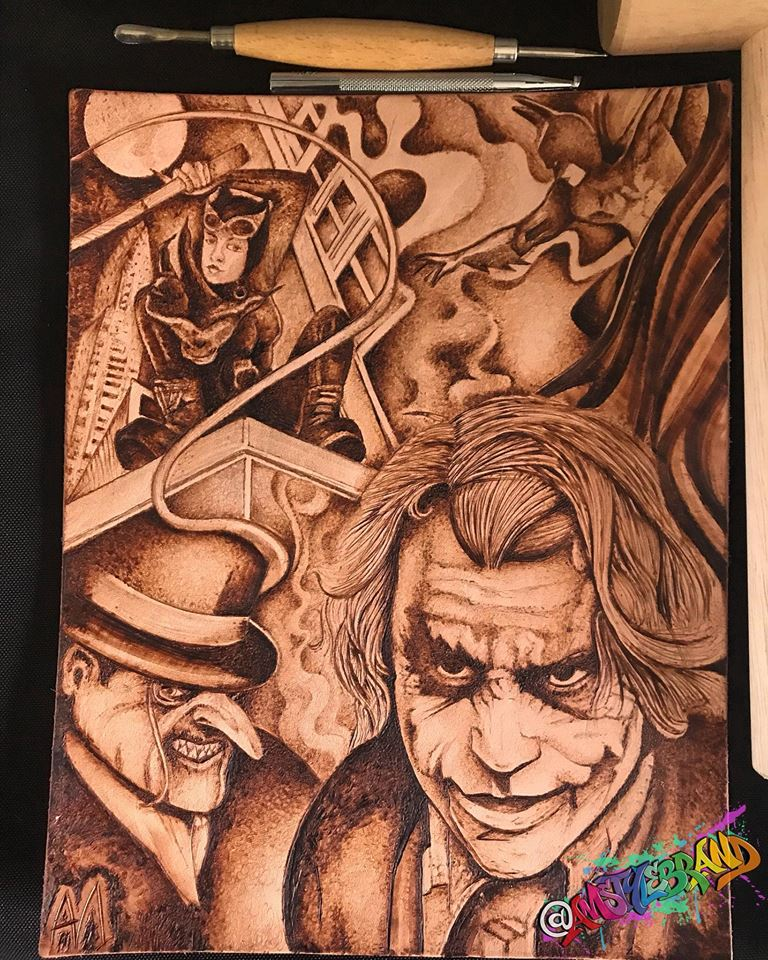 Joker and Batman Leather Tool Art