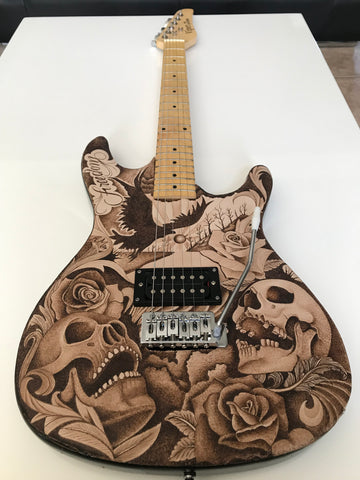 "39"" Electric Personalized Guitar Genuine Leather Hand Tooled Art Custom Artwork Skulls, Day of The Dead Roses Tattoo Style Design."