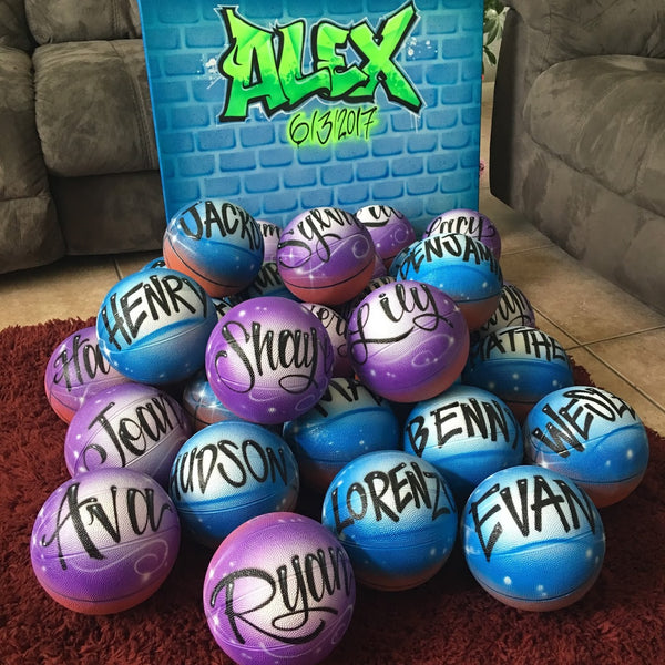 Airbrush Basketballs, Great Party Favor or Gift Idea! Custom Basketballs, Personalize with your name, Nickname, Team name