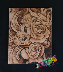 Day of The Dead Sugar Skull Leather Tool Art
