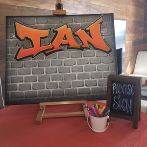 Airbrush Graffiti Art Sign In Canvas Board 20x30 Ready to hang. Custom Art on Canvas, Event Decor, Room Decor