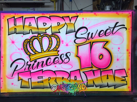 Airbrush banners, Birthday decor, Sweet 16 banners, Great Party decor idea, Custom Banners!