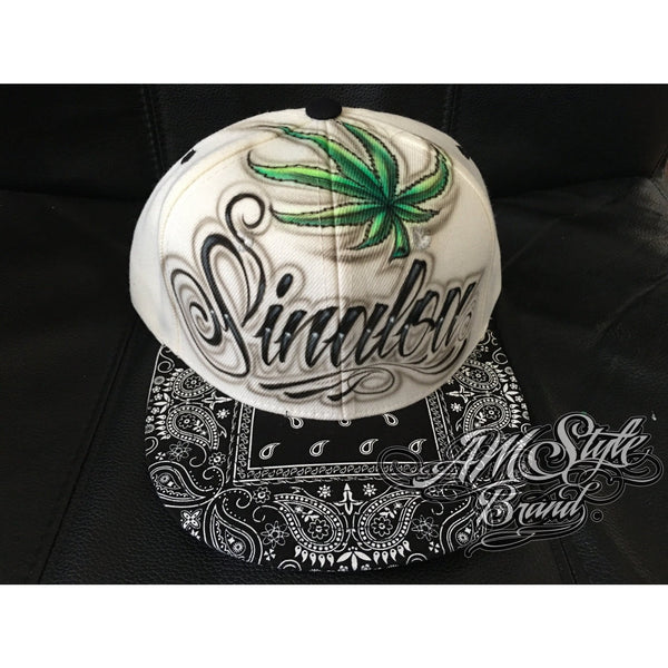 Airbrush Sinaloa Mexico Snap back with bandana brim, Airbrush Hat. Great Fathers Day or Birthday Gift. Latin Art, Personalized hats.
