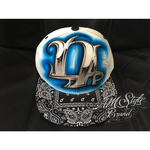 Airbrush LA Hat, Graffiti Style art, Bandana Brim, Los Angeles hats, Custom Designs