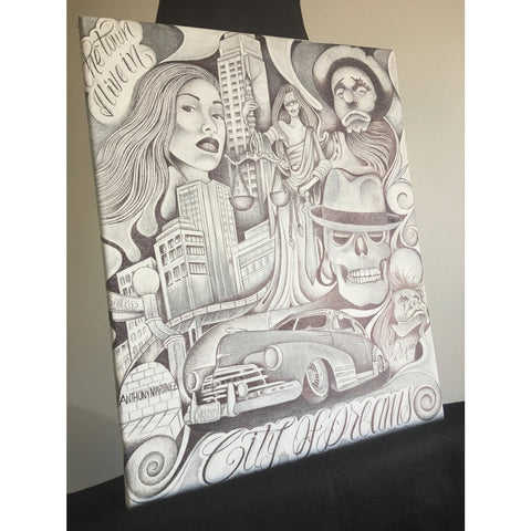 "16x20 Stretched Canvas Original Drawing ""City of Dreams"" Dia de los muertos Tattoo Art Flash Inspired Day of the Dead Sugar Skull Wall Art"