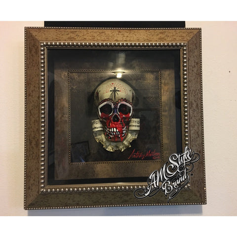 "Day of The Dead Wall Decor  ""Santa Muerte""  Original Piece of Art in 3D Frame."