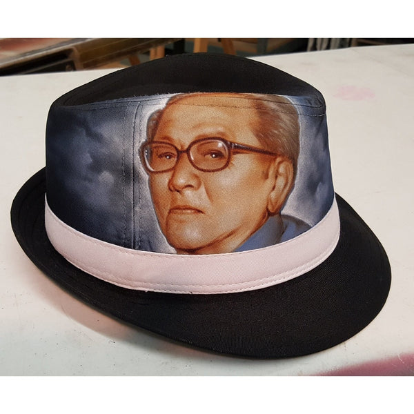 Custom Portraits on Fedora hats. Great Fathers day o holiday gift! Portrait Art