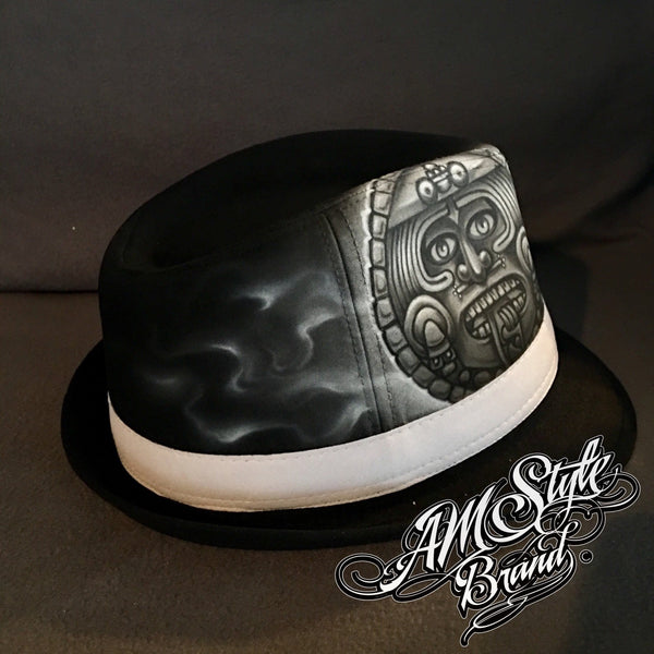 Aztec Calendar, Tattoo Style, Airbrush Art, Chicano Art, Pachuco Hat, Fedora- Unique!