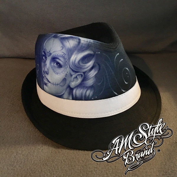 Day of the dead, Tattoo Style, Airbrush Art, Chicano Art, Skull Design - Unique! Fedora