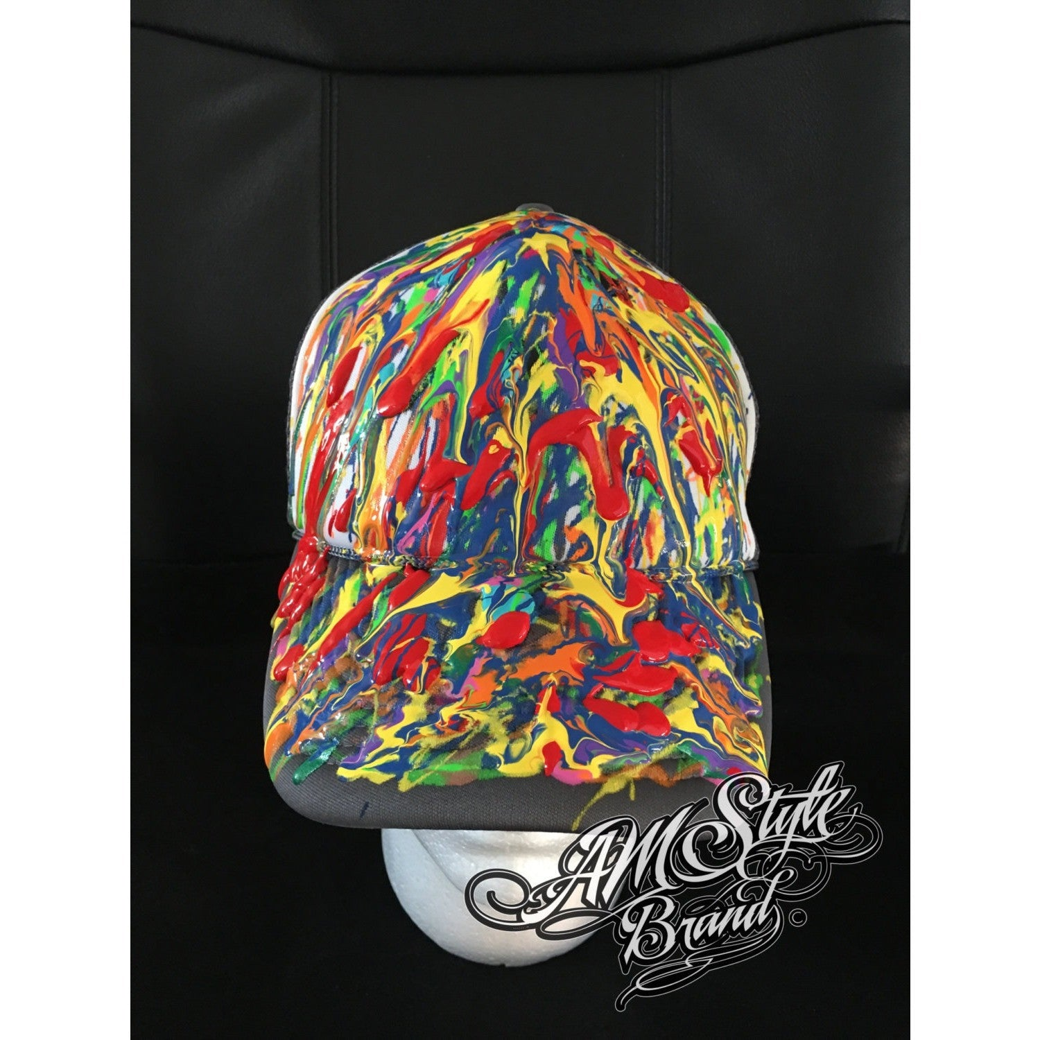 Abstract Art on Trucker hats, Colorful art, Custom and Unique, Original and Made to Order.