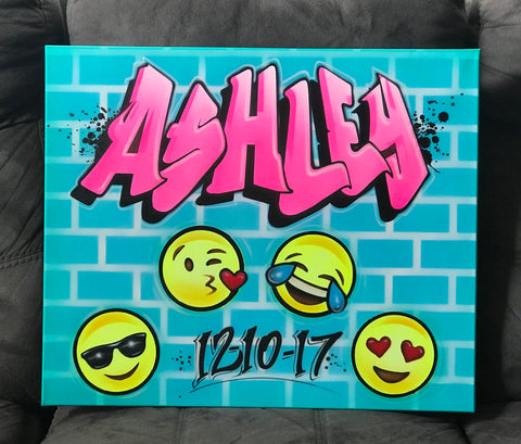 Airbrush Emojis Sign In Board, Event Decor Graffiti Style