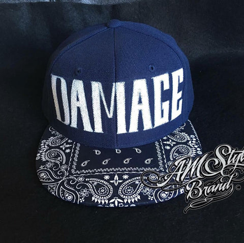 Damage Custom Painted Hat with Paisley Brim