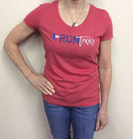 W Run Texas V-Neck Red