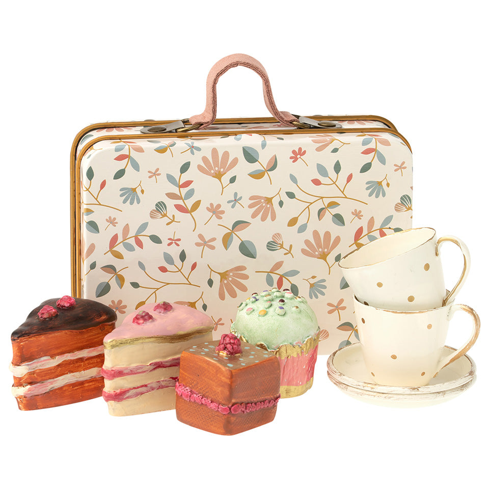 Maileg Floral Suitcase With Tea Cups And Cakes