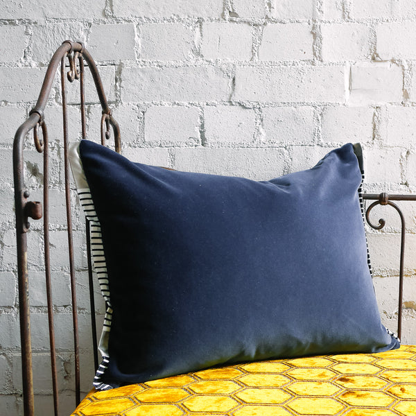Designers Guild Varese Prussian Blue Velvet Cushion