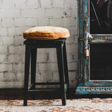 Vintage Indian Green Metal Stool
