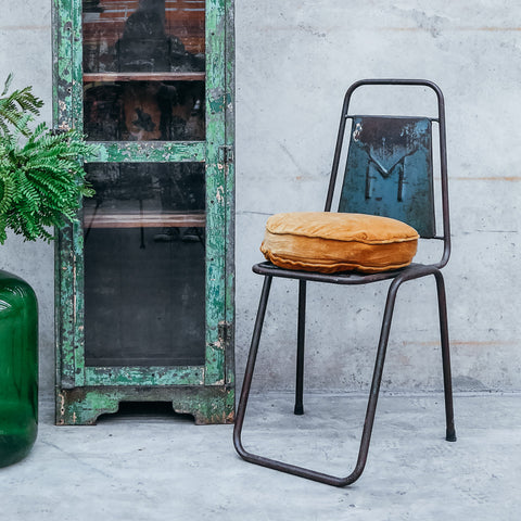 Vintage Indian Green Metal Industrial Chair