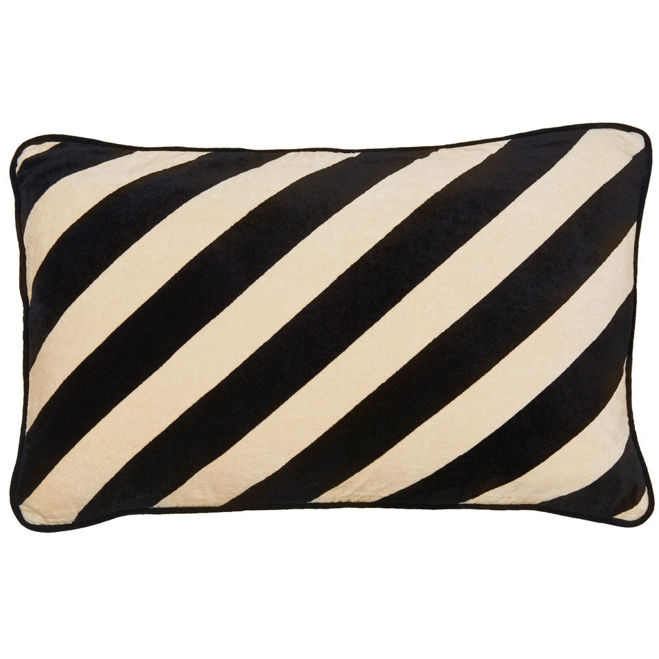 Castle Stripe Velvet Lumbar Cushion