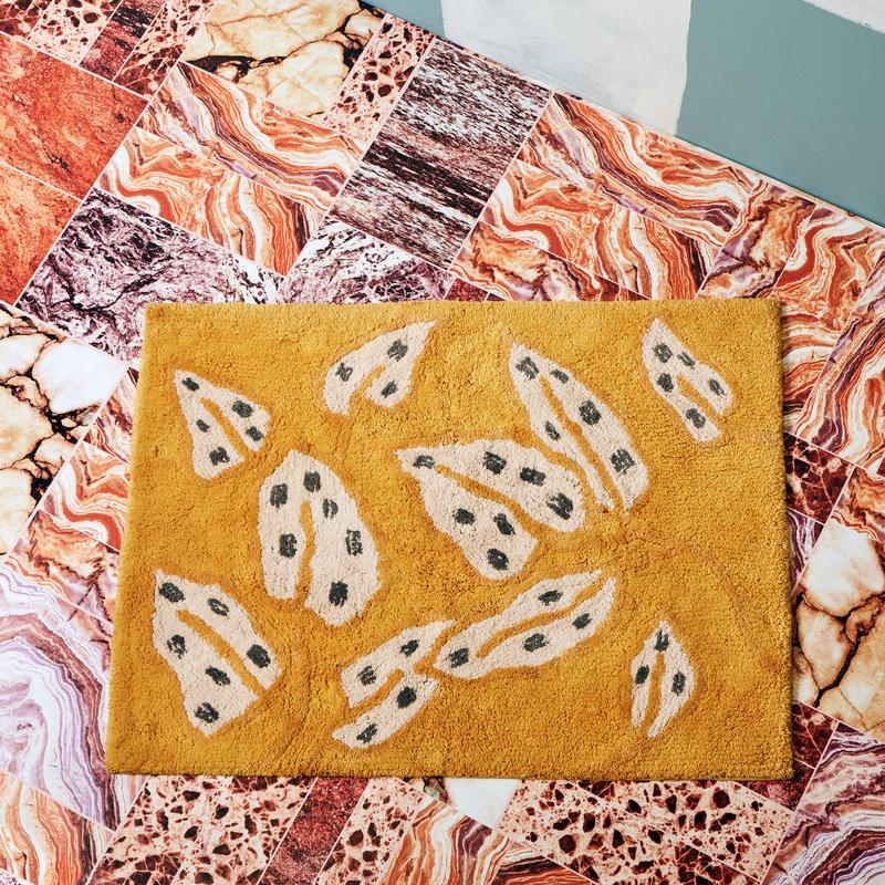 Bonnie and Neil Bath Mat | Spotted Begonia Mustard