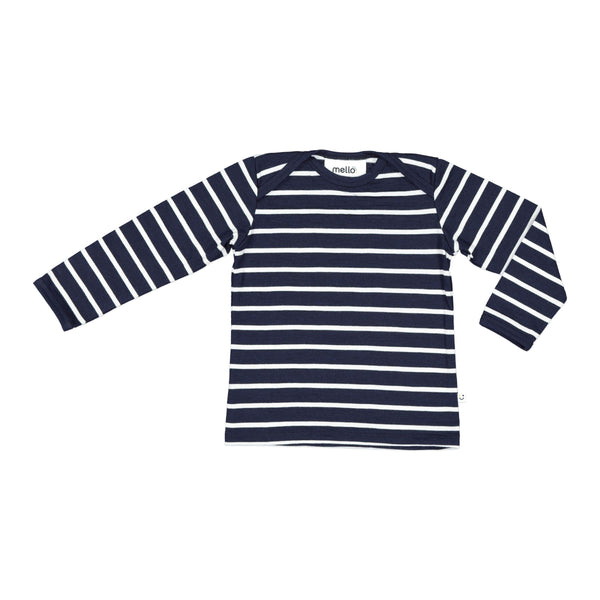 Mello Merino Mini Long Sleeve Tee | Ink Breton Stripe
