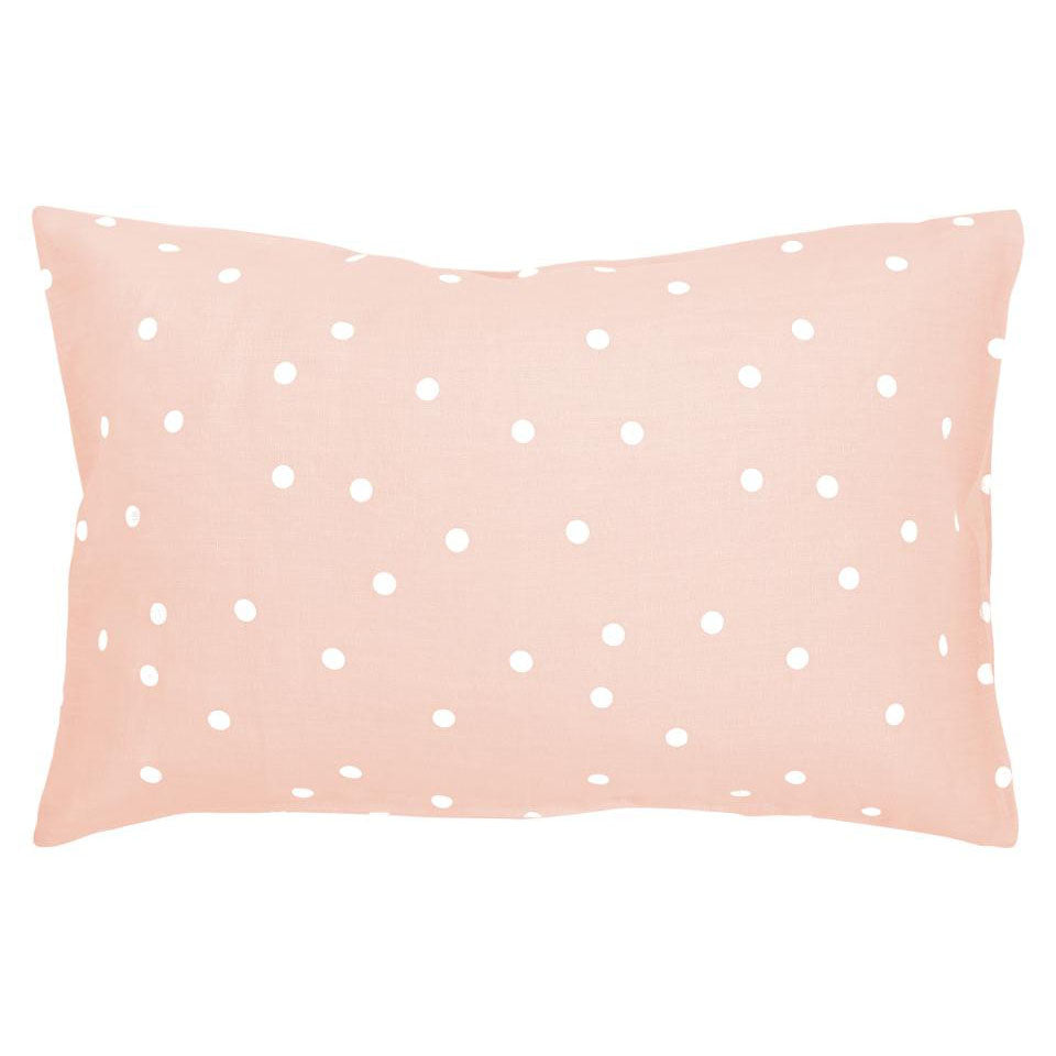 Castle Pillowcase | Blush Linen Random White Spot