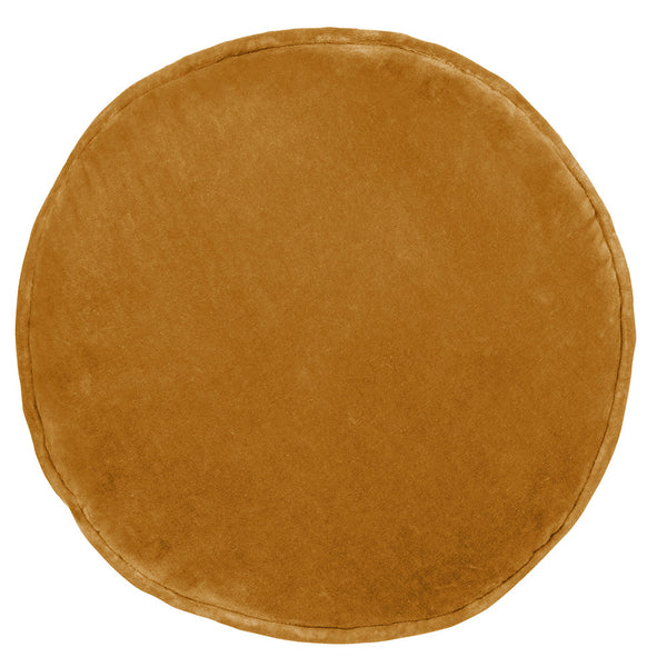 Castle Penny Round Cushion | Butterscotch Velvet