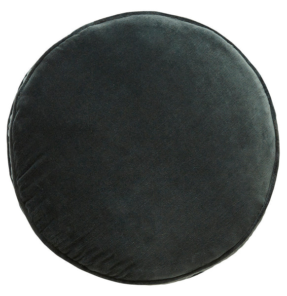 Castle Penny Round Cushion | Charcoal Velvet